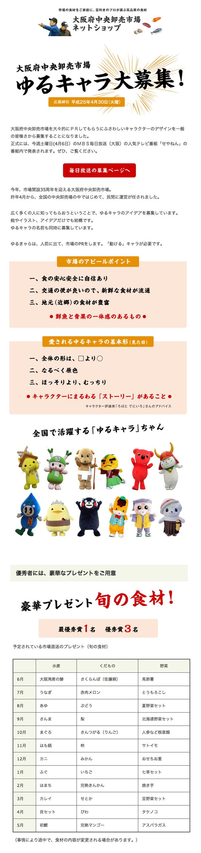 毎日放送「せやねん!」で募集していた大阪府中央卸売市場のゆるキャラ
